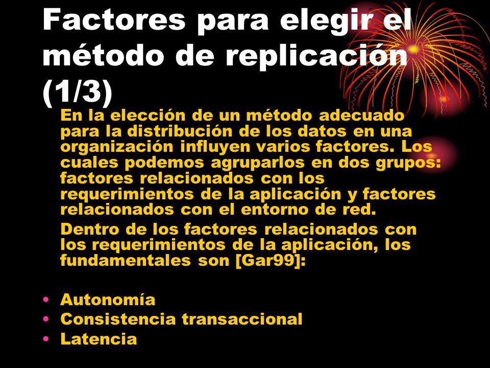 Factores para elegir el método de replicación (1/3) En la elección de un método adecuado para la distribución de los datos en una organización influyen varios factores.