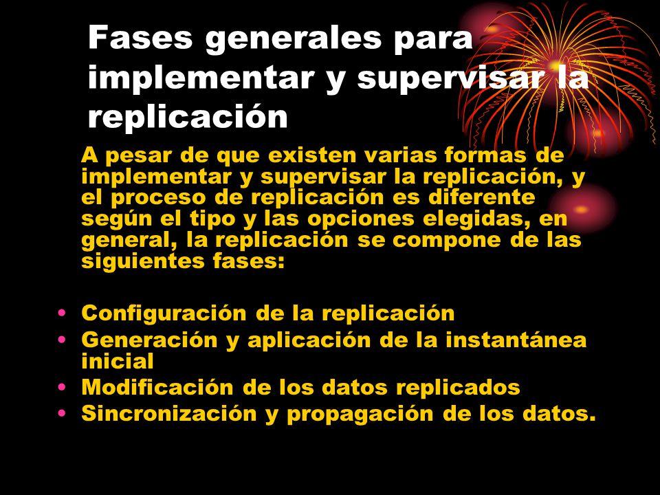 Fases generales para implementar y supervisar la replicación A pesar de que existen varias formas de implementar y supervisar la replicación, y el proceso de replicación es diferente según el tipo y las opciones elegidas, en general, la replicación se compone de las siguientes fases: Configuración de la replicación Generación y aplicación de la instantánea inicial Modificación de los datos replicados Sincronización y propagación de los datos.
