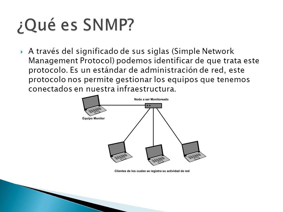 A través del significado de sus siglas (Simple Network Management Protocol) podemos identificar de que trata este protocolo. Es un estándar de adminis