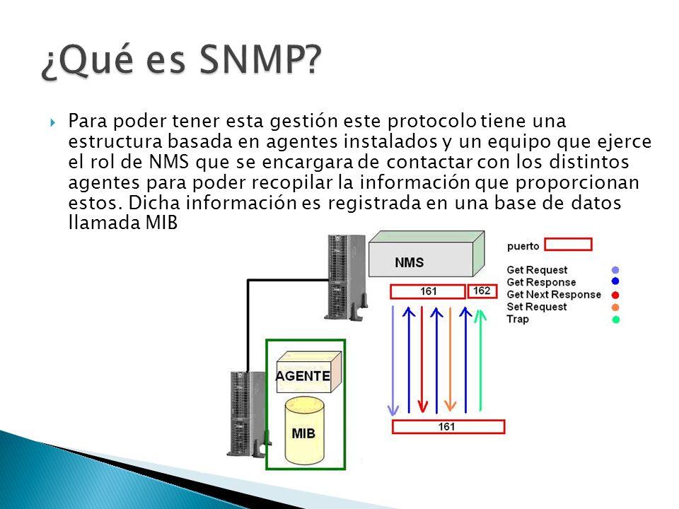 Para poder tener esta gestión este protocolo tiene una estructura basada en agentes instalados y un equipo que ejerce el rol de NMS que se encargara d