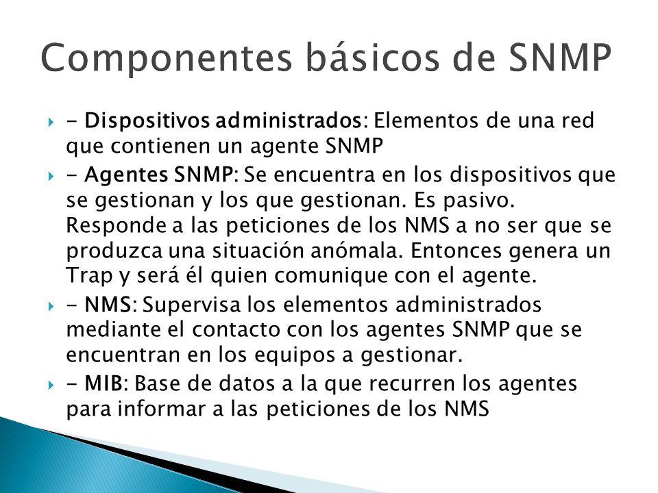- Dispositivos administrados: Elementos de una red que contienen un agente SNMP - Agentes SNMP: Se encuentra en los dispositivos que se gestionan y lo
