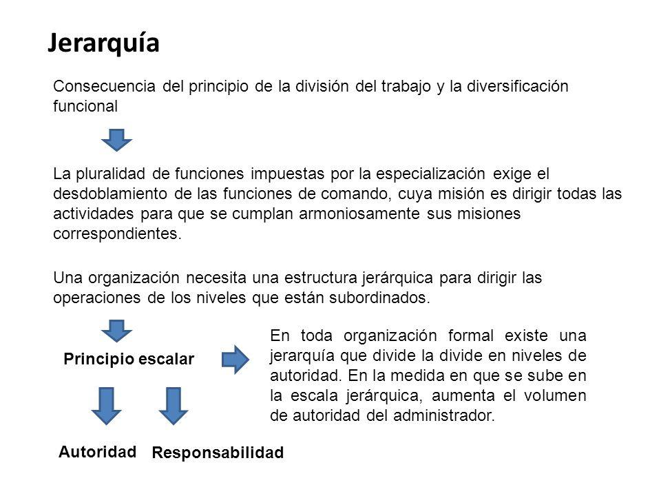 Jerarquía Consecuencia del principio de la división del trabajo y la diversificación funcional La pluralidad de funciones impuestas por la especializa
