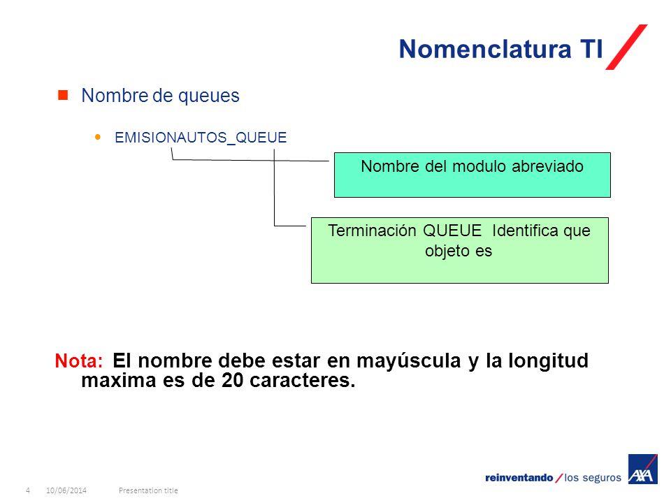 10/06/2014Presentation title4 Nomenclatura TI Nombre de queues EMISIONAUTOS_QUEUE Nota: El nombre debe estar en mayúscula y la longitud maxima es de 20 caracteres.