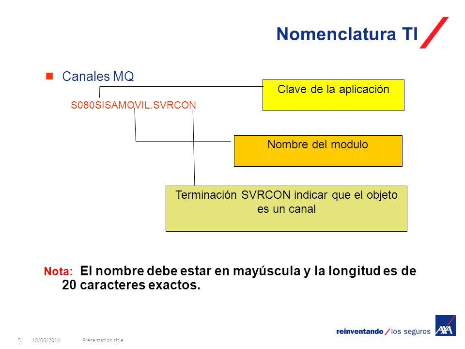 10/06/2014Presentation title5 Canales MQ S080SISAMOVIL.SVRCON Nota: El nombre debe estar en mayúscula y la longitud es de 20 caracteres exactos.