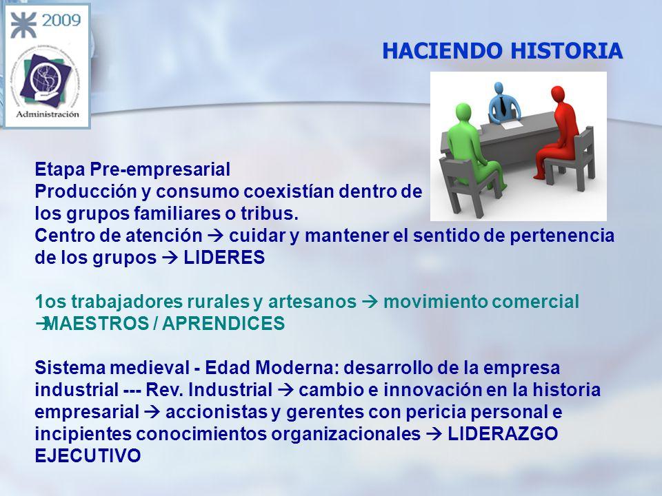 HACIENDO HISTORIA Etapa Pre-empresarial Producción y consumo coexistían dentro de los grupos familiares o tribus.