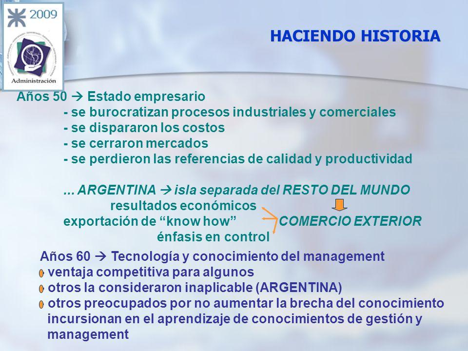 HACIENDO HISTORIA Años 50 Estado empresario - se burocratizan procesos industriales y comerciales - se dispararon los costos - se cerraron mercados - se perdieron las referencias de calidad y productividad...