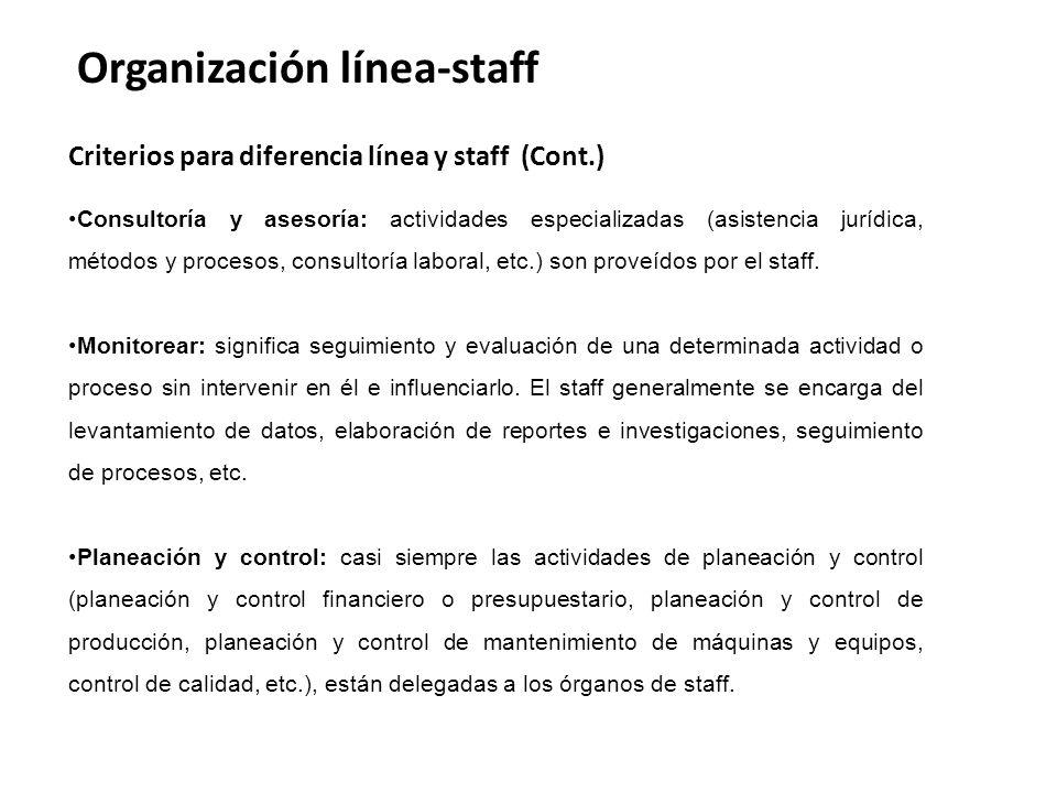 Organización línea-staff Criterios para diferencia línea y staff (Cont.) Consultoría y asesoría: actividades especializadas (asistencia jurídica, métodos y procesos, consultoría laboral, etc.) son proveídos por el staff.