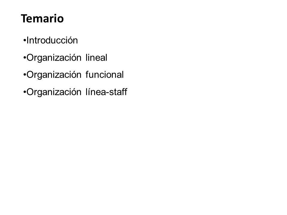 Temario Introducción Organización lineal Organización funcional Organización línea-staff