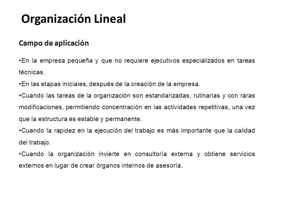 Organización Lineal Campo de aplicación En la empresa pequeña y que no requiere ejecutivos especializados en tareas técnicas.