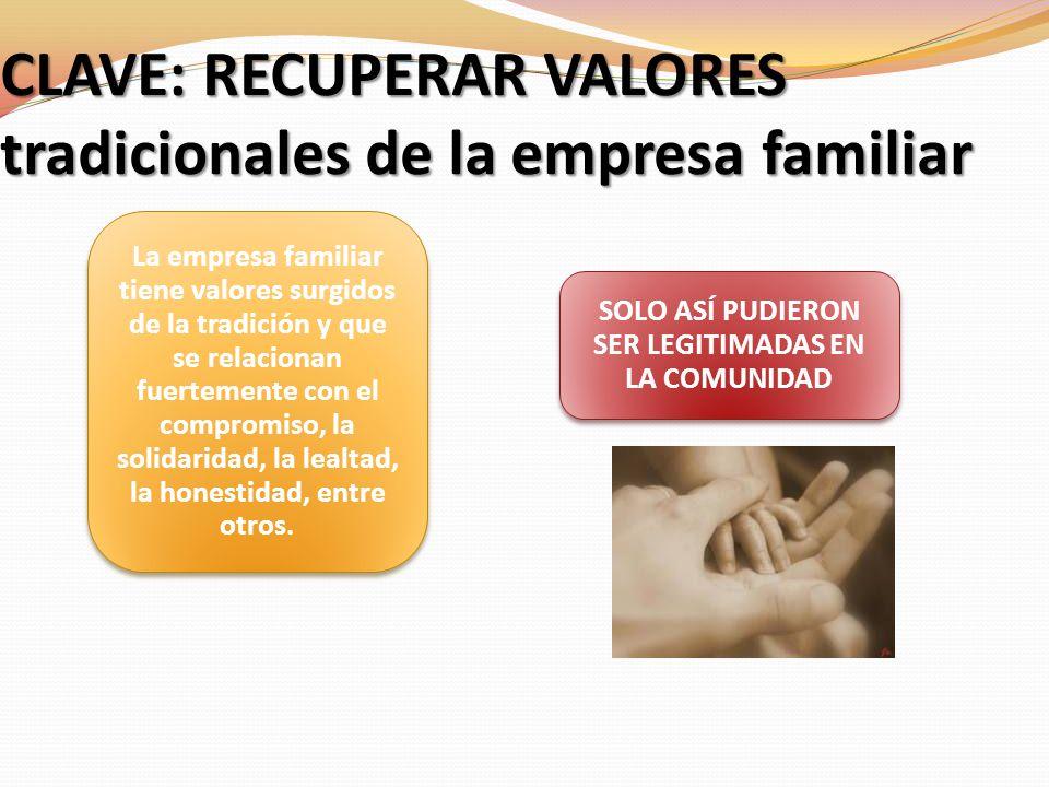 CLAVE: RECUPERAR VALORES tradicionales de la empresa familiar La empresa familiar tiene valores surgidos de la tradición y que se relacionan fuertemen
