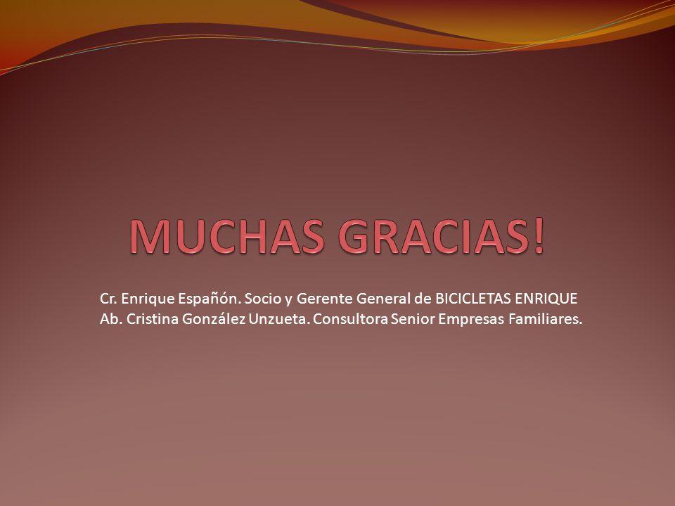 Cr. Enrique Españón. Socio y Gerente General de BICICLETAS ENRIQUE Ab. Cristina González Unzueta. Consultora Senior Empresas Familiares.
