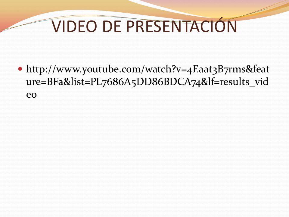 VIDEO DE PRESENTACIÓN http://www.youtube.com/watch?v=4Eaat3B7rms&feat ure=BFa&list=PL7686A5DD86BDCA74&lf=results_vid eo