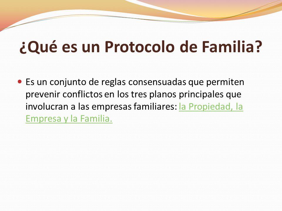 ¿Qué es un Protocolo de Familia? Es un conjunto de reglas consensuadas que permiten prevenir conflictos en los tres planos principales que involucran