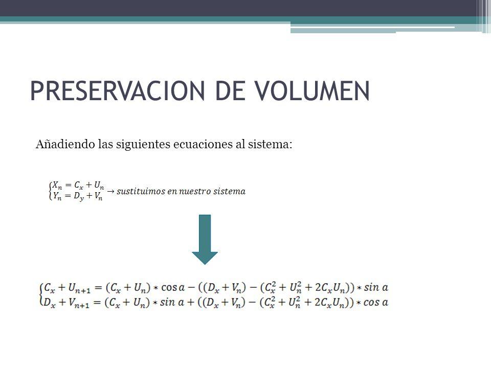 PRESERVACION DE VOLUMEN Añadiendo las siguientes ecuaciones al sistema: