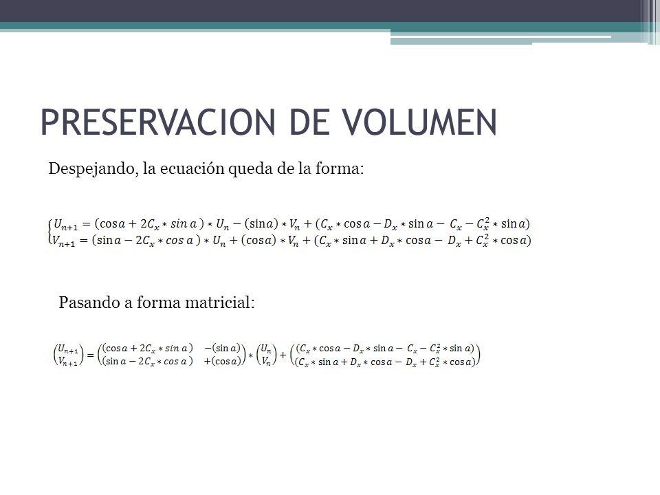 PRESERVACION DE VOLUMEN Despejando, la ecuación queda de la forma: Pasando a forma matricial: