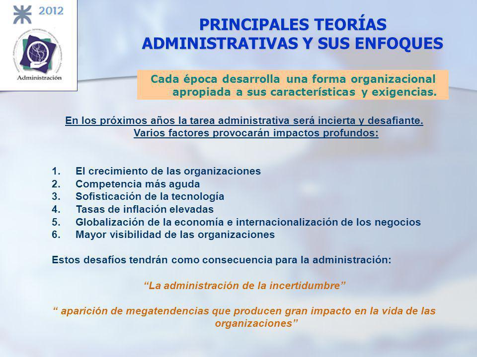 Cada época desarrolla una forma organizacional apropiada a sus características y exigencias. En los próximos años la tarea administrativa será inciert