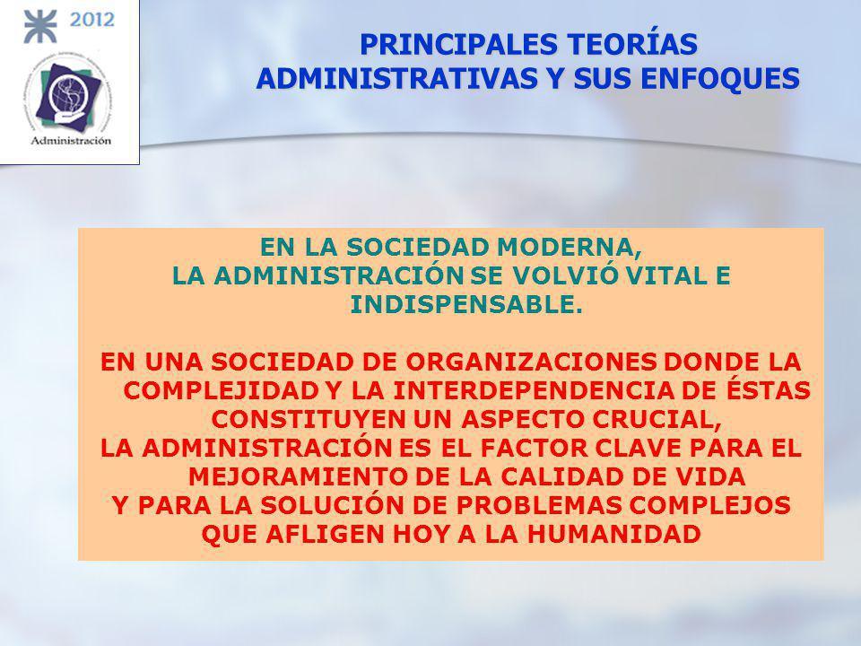 PRINCIPALES TEORÍAS ADMINISTRATIVAS Y SUS ENFOQUES EN LA SOCIEDAD MODERNA, LA ADMINISTRACIÓN SE VOLVIÓ VITAL E INDISPENSABLE. EN UNA SOCIEDAD DE ORGAN