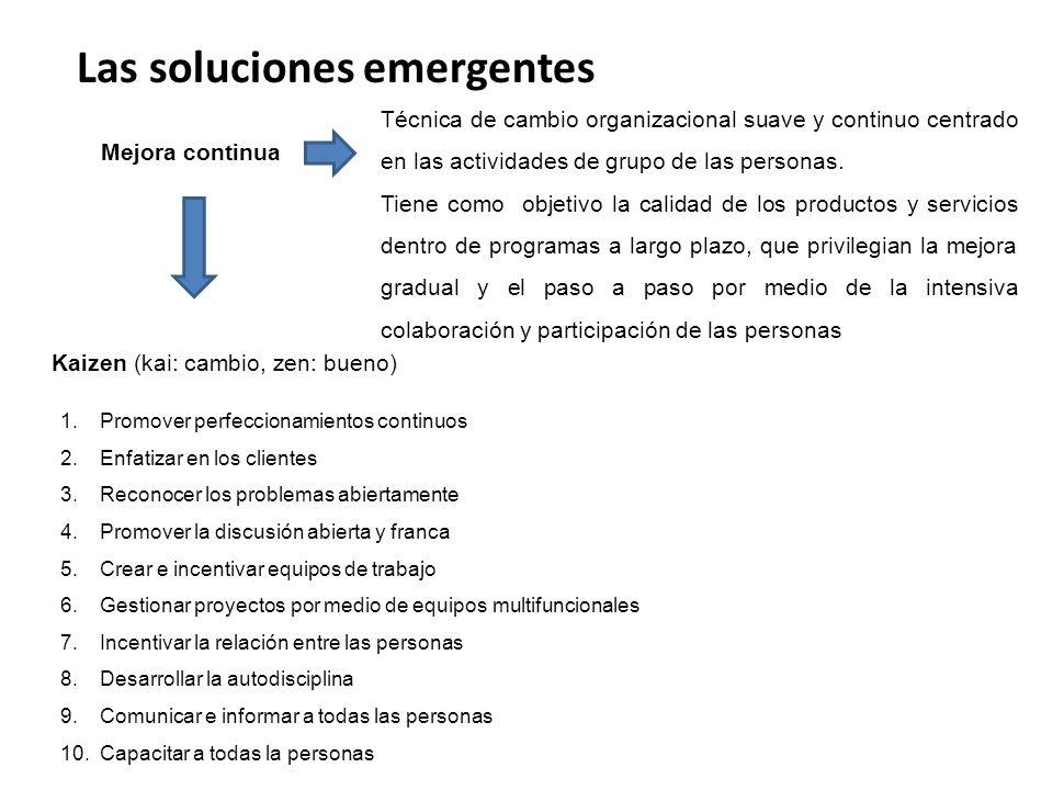 Las soluciones emergentes Mejora continua Técnica de cambio organizacional suave y continuo centrado en las actividades de grupo de las personas.