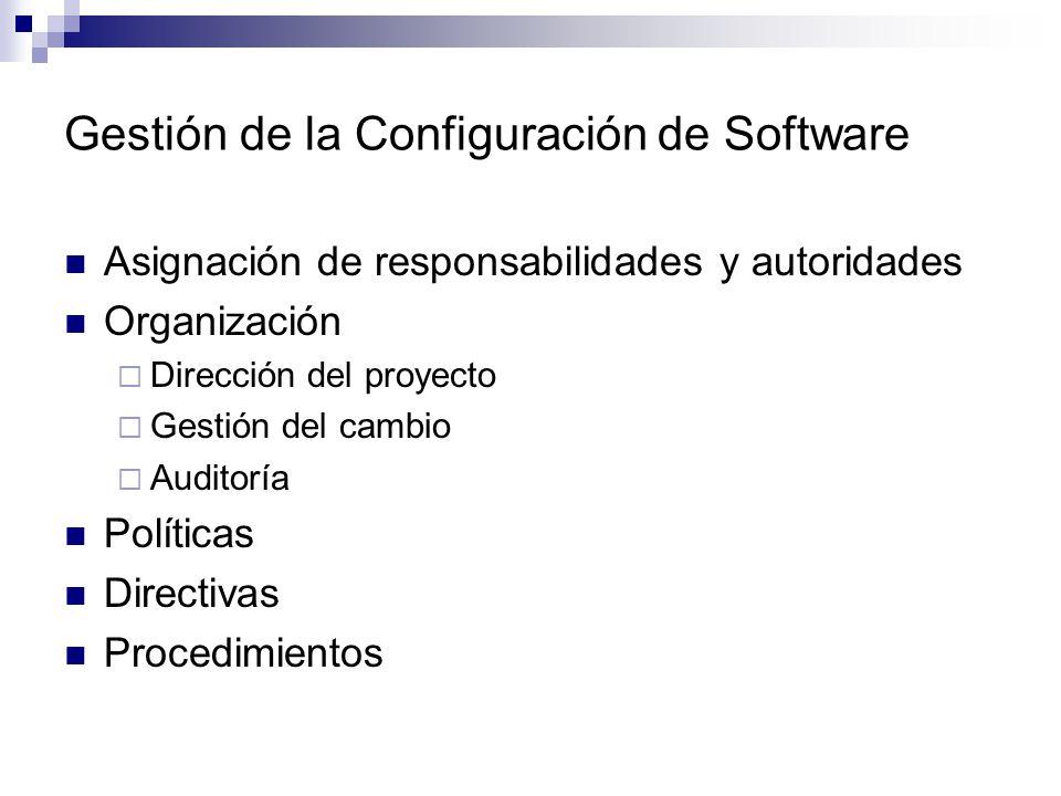 Gestión de la Configuración de Software Asignación de responsabilidades y autoridades Organización Dirección del proyecto Gestión del cambio Auditoría
