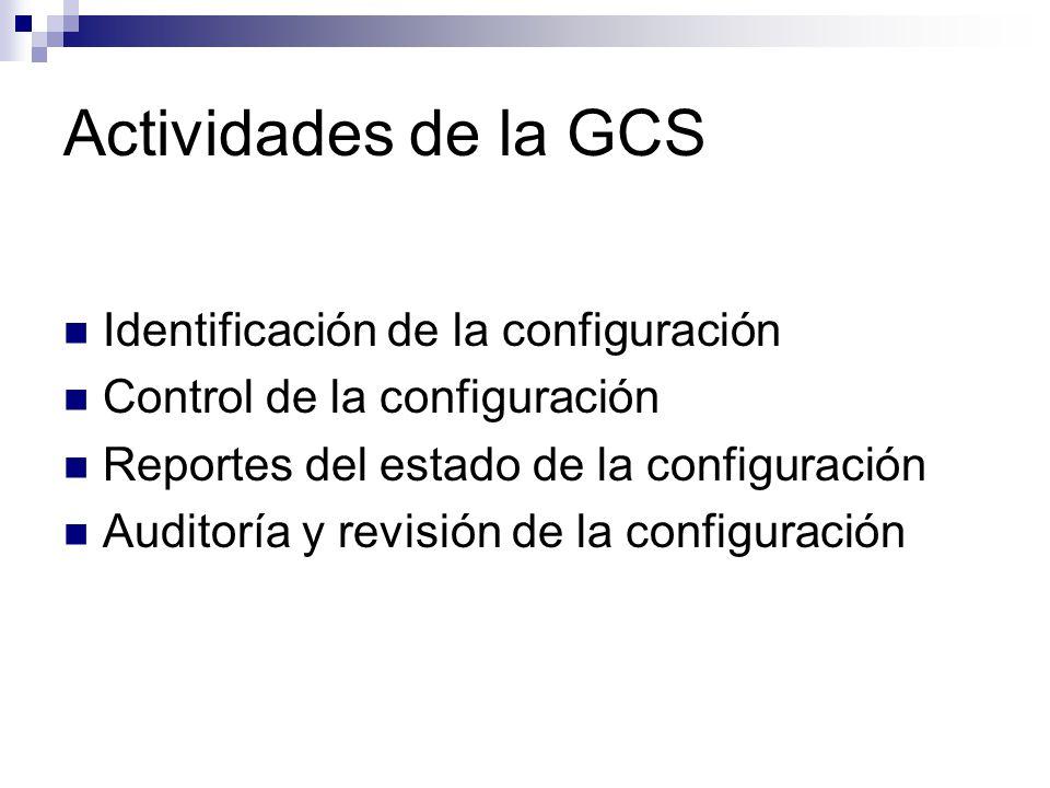 Actividades de la GCS Identificación de la configuración Control de la configuración Reportes del estado de la configuración Auditoría y revisión de l