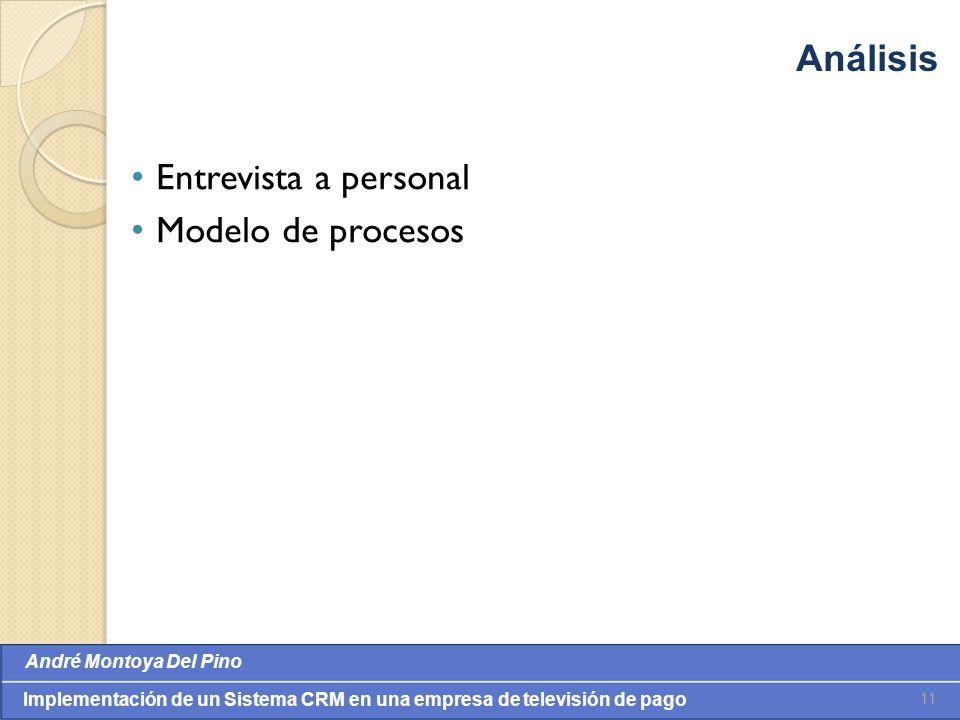 Valores: Integridade, Comprometimento, Cooperação, Inovação e Eqüidade André Montoya Del Pino Implementación de un Sistema CRM en una empresa de televisión de pago Entrevista a personal Modelo de procesos 11 Análisis