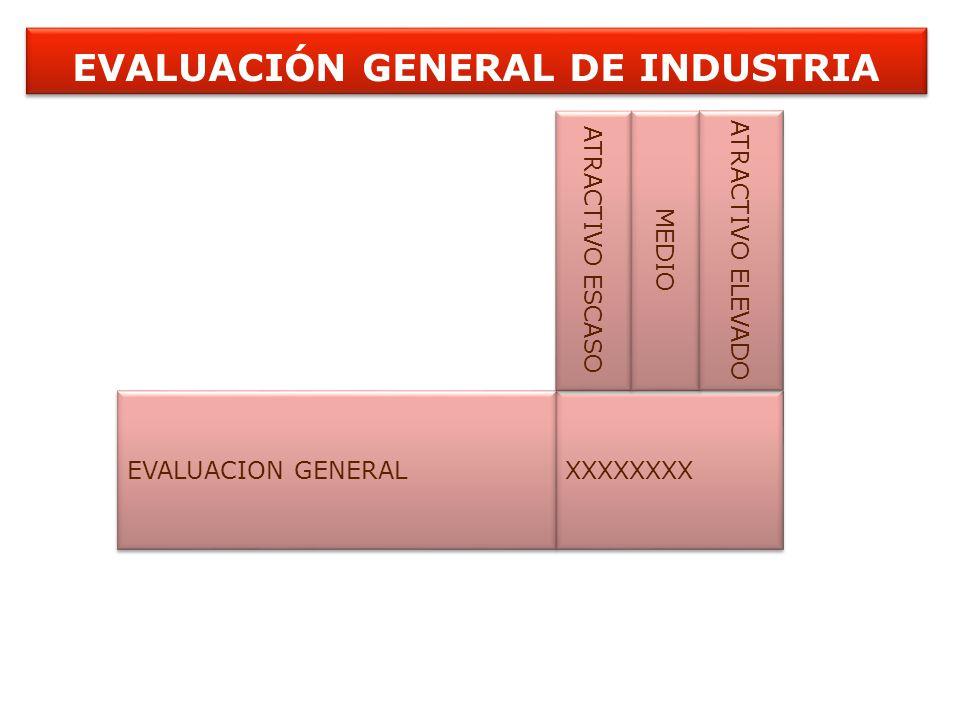 EVALUACIÓN GENERAL DE INDUSTRIA EVALUACION GENERAL XXXXXXXX ATRACTIVO ESCASO MEDIO ATRACTIVO ELEVADO