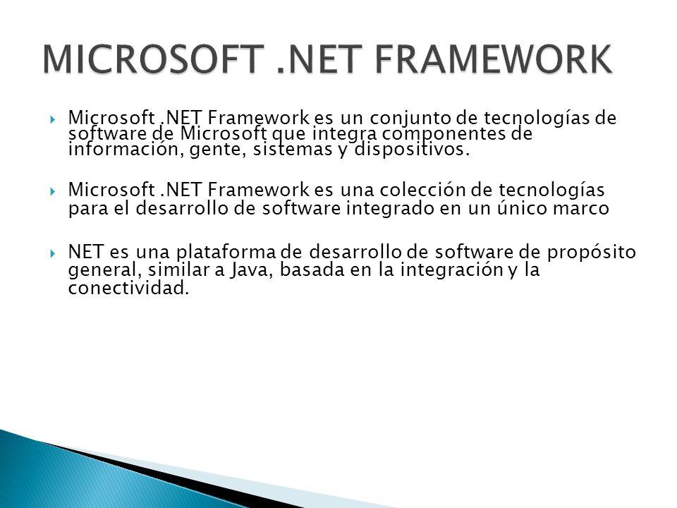 Microsoft.NET Framework es un conjunto de tecnologías de software de Microsoft que integra componentes de información, gente, sistemas y dispositivos.