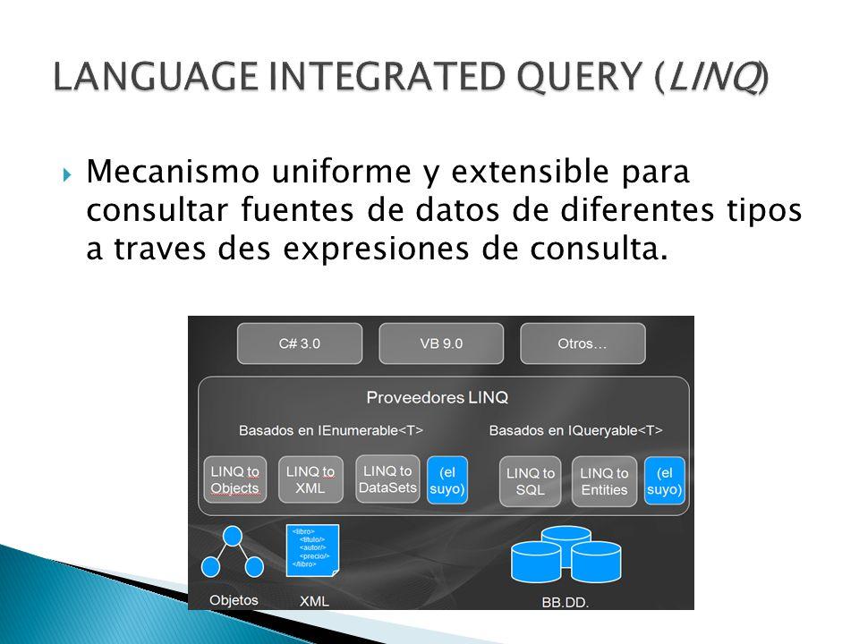 Mecanismo uniforme y extensible para consultar fuentes de datos de diferentes tipos a traves des expresiones de consulta.