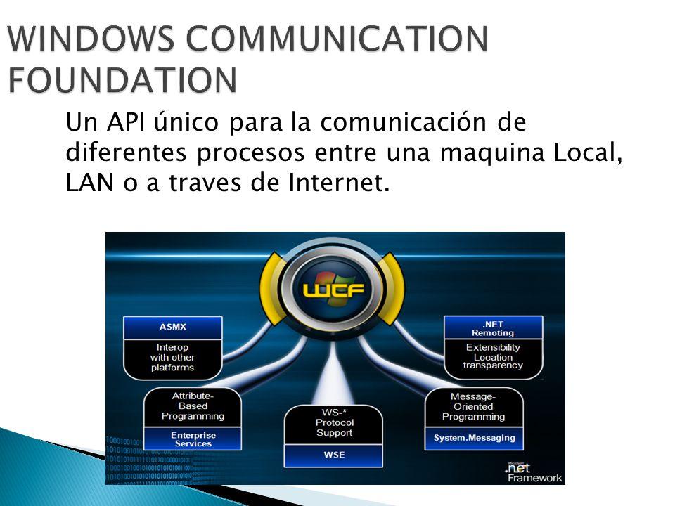 Un API único para la comunicación de diferentes procesos entre una maquina Local, LAN o a traves de Internet.
