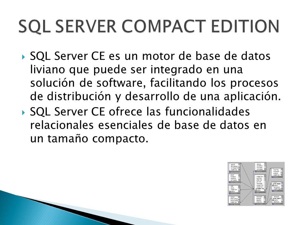 SQL Server CE es un motor de base de datos liviano que puede ser integrado en una solución de software, facilitando los procesos de distribución y desarrollo de una aplicación.