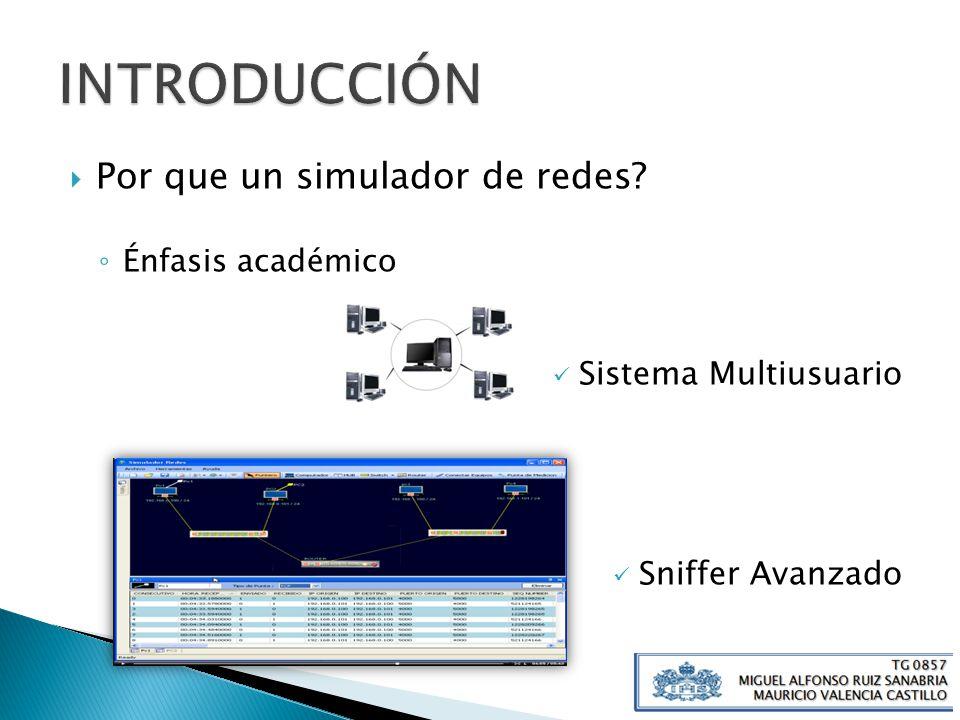 Por que un simulador de redes? Énfasis académico Sistema Multiusuario Sniffer Avanzado