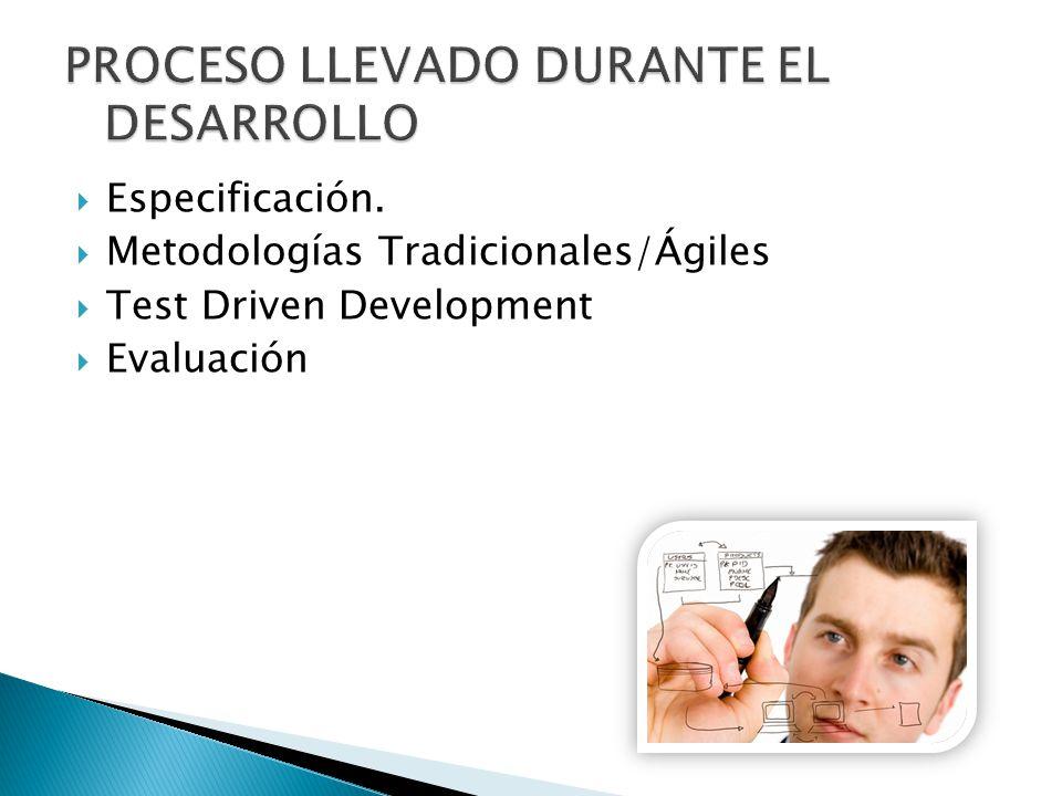 Especificación. Metodologías Tradicionales/Ágiles Test Driven Development Evaluación