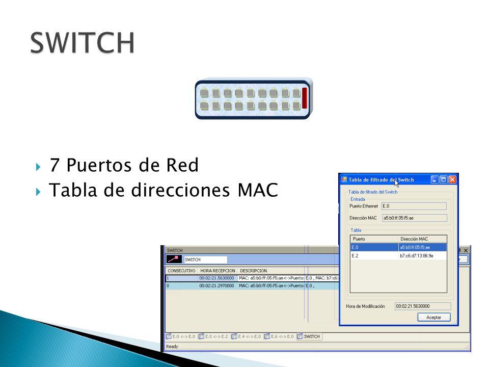 7 Puertos de Red Tabla de direcciones MAC
