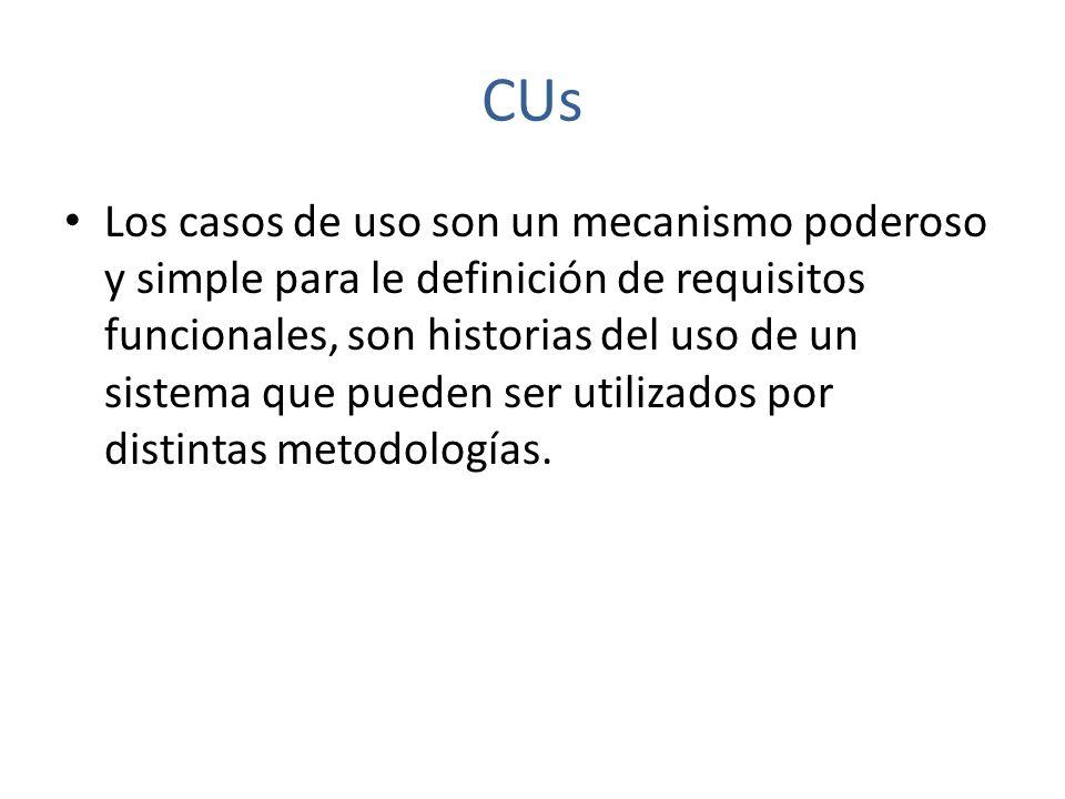 CUs Los CUs contestan las preguntas: ¿Quiénes son los diferentes usuarios del sistema y qué papeles desempeñan.