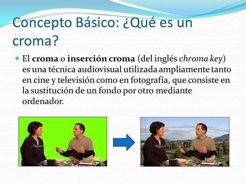 Concepto Básico: ¿Qué es un croma? El croma o inserción croma (del inglés chroma key) es una técnica audiovisual utilizada ampliamente tanto en cine y