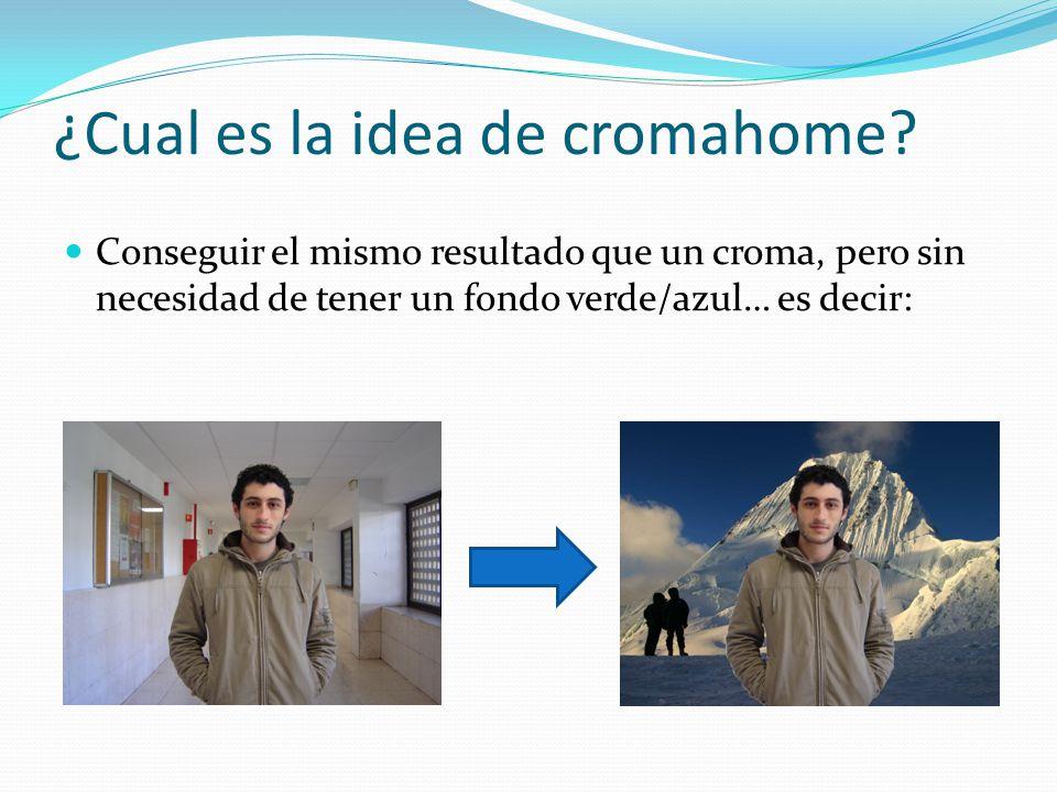 ¿Cual es la idea de cromahome? Conseguir el mismo resultado que un croma, pero sin necesidad de tener un fondo verde/azul… es decir: