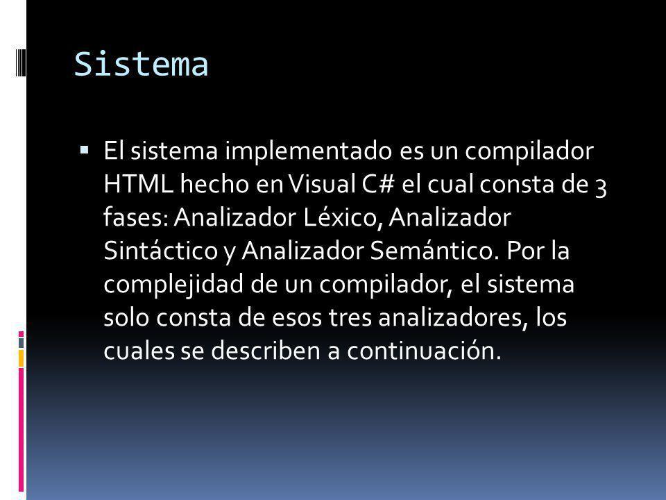 Sistema El sistema implementado es un compilador HTML hecho en Visual C# el cual consta de 3 fases: Analizador Léxico, Analizador Sintáctico y Analiza