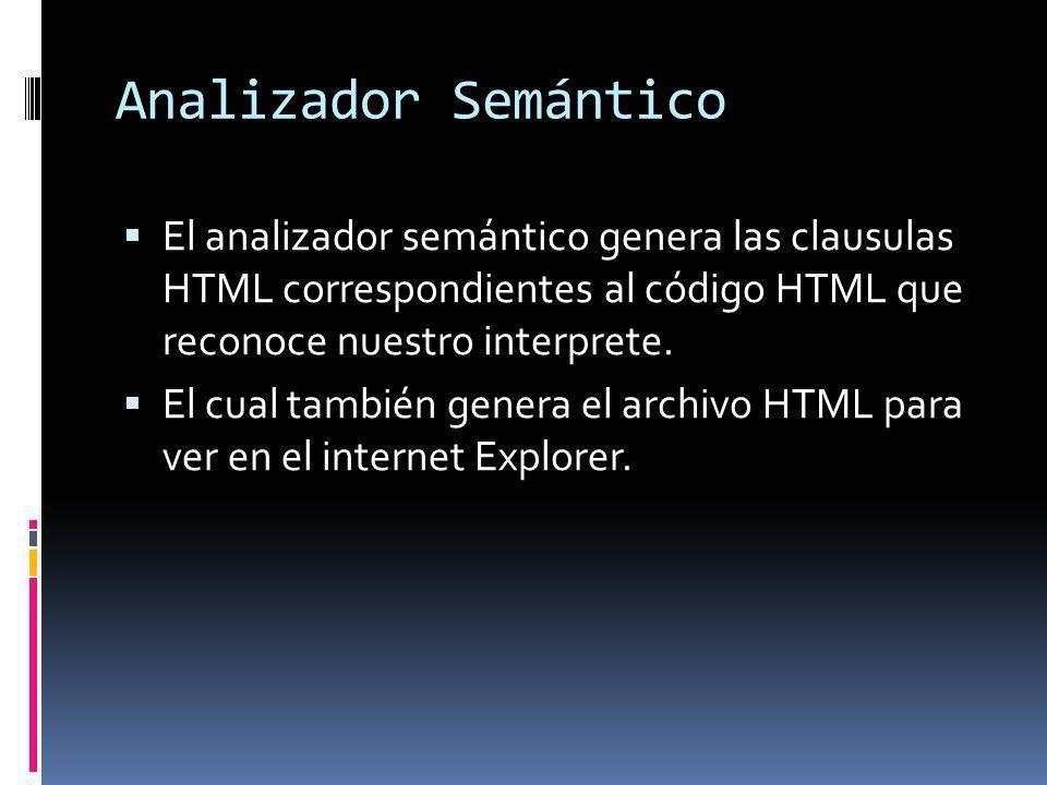 Analizador Semántico El analizador semántico genera las clausulas HTML correspondientes al código HTML que reconoce nuestro interprete. El cual tambié
