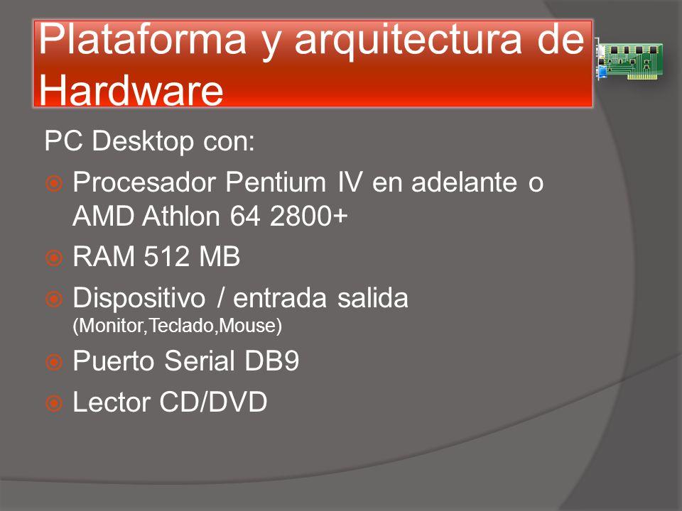 Plataforma y arquitectura de Hardware PC Desktop con: Procesador Pentium IV en adelante o AMD Athlon 64 2800+ RAM 512 MB Dispositivo / entrada salida (Monitor,Teclado,Mouse) Puerto Serial DB9 Lector CD/DVD