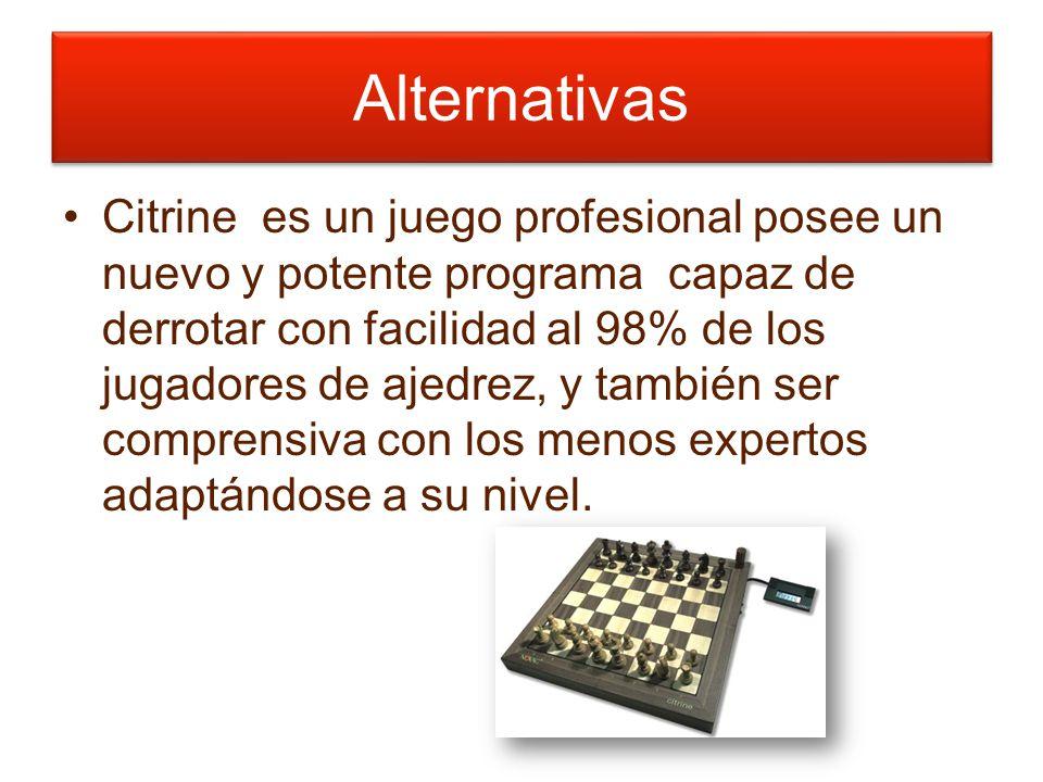 Alternativas Citrine es un juego profesional posee un nuevo y potente programa capaz de derrotar con facilidad al 98% de los jugadores de ajedrez, y también ser comprensiva con los menos expertos adaptándose a su nivel.