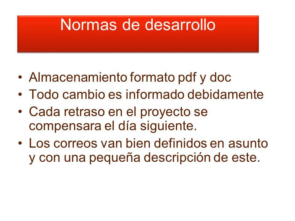 Normas de desarrollo Almacenamiento formato pdf y doc Todo cambio es informado debidamente Cada retraso en el proyecto se compensara el día siguiente.