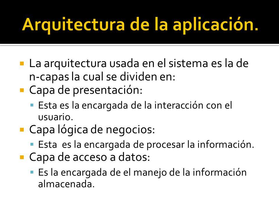 La arquitectura usada en el sistema es la de n-capas la cual se dividen en: Capa de presentación: Esta es la encargada de la interacción con el usuari