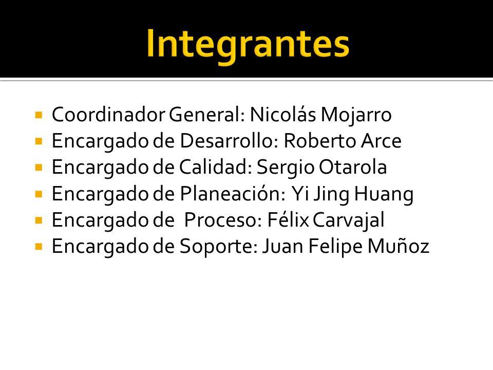 Coordinador General: Nicolás Mojarro Encargado de Desarrollo: Roberto Arce Encargado de Calidad: Sergio Otarola Encargado de Planeación: Yi Jing Huang