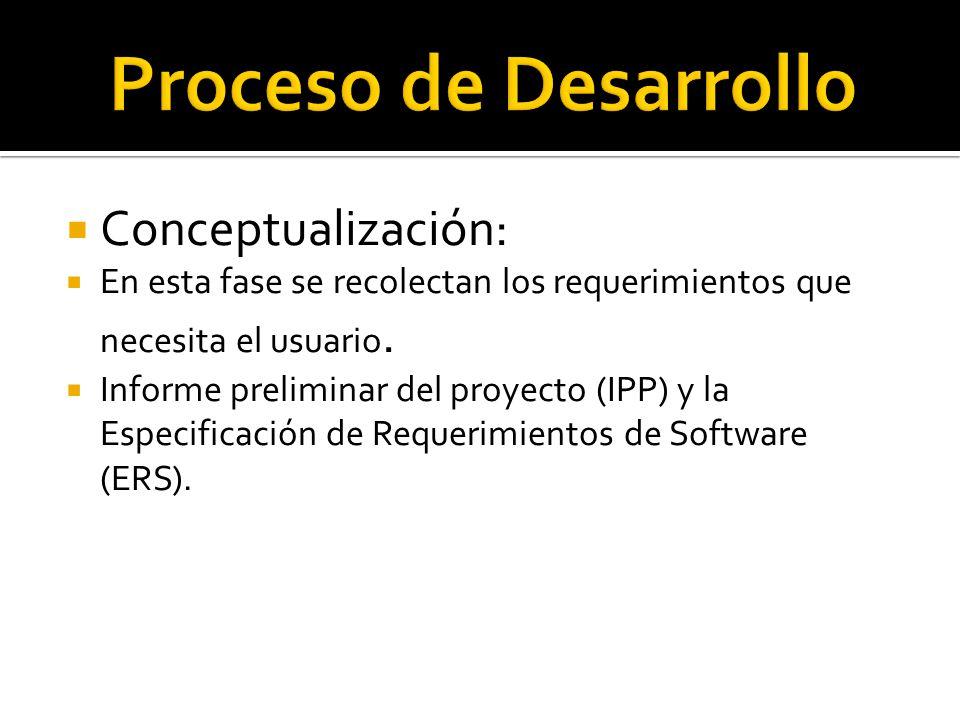 Conceptualización: En esta fase se recolectan los requerimientos que necesita el usuario. Informe preliminar del proyecto (IPP) y la Especificación de