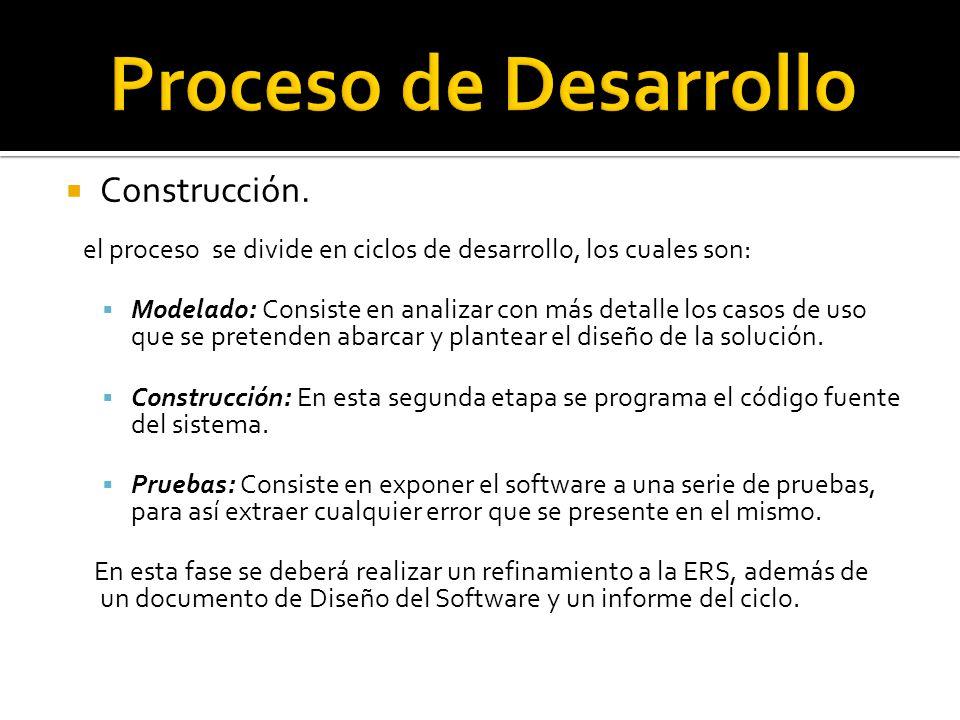 Construcción. el proceso se divide en ciclos de desarrollo, los cuales son: Modelado: Consiste en analizar con más detalle los casos de uso que se pre