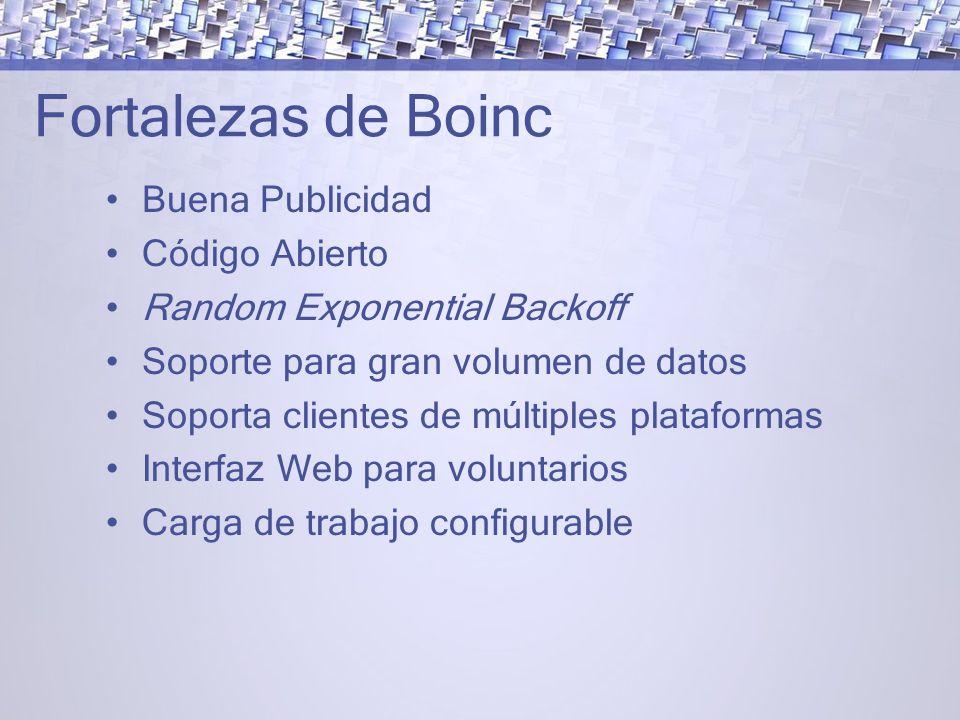 Fortalezas de Boinc Buena Publicidad Código Abierto Random Exponential Backoff Soporte para gran volumen de datos Soporta clientes de múltiples plataformas Interfaz Web para voluntarios Carga de trabajo configurable