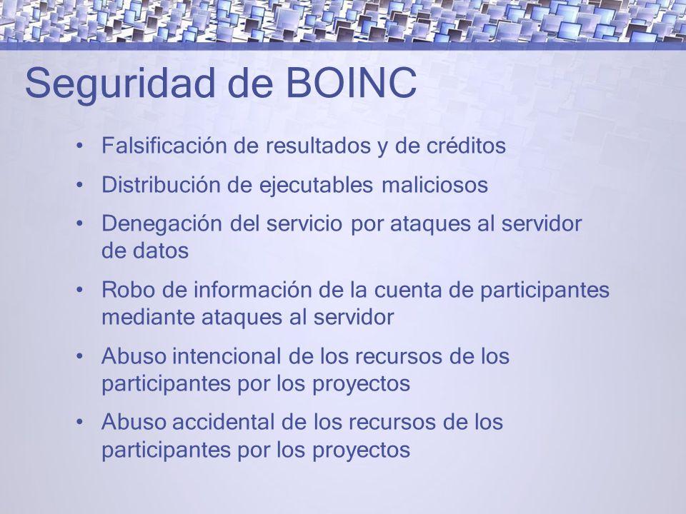 Seguridad de BOINC Falsificación de resultados y de créditos Distribución de ejecutables maliciosos Denegación del servicio por ataques al servidor de datos Robo de información de la cuenta de participantes mediante ataques al servidor Abuso intencional de los recursos de los participantes por los proyectos Abuso accidental de los recursos de los participantes por los proyectos