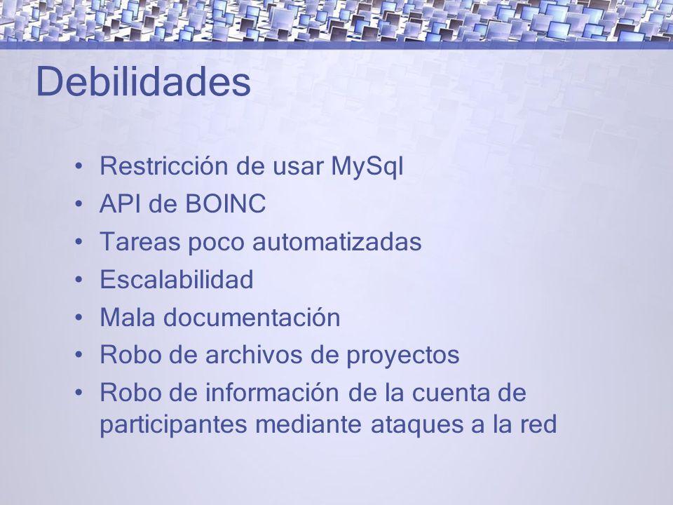 Debilidades Restricción de usar MySql API de BOINC Tareas poco automatizadas Escalabilidad Mala documentación Robo de archivos de proyectos Robo de información de la cuenta de participantes mediante ataques a la red