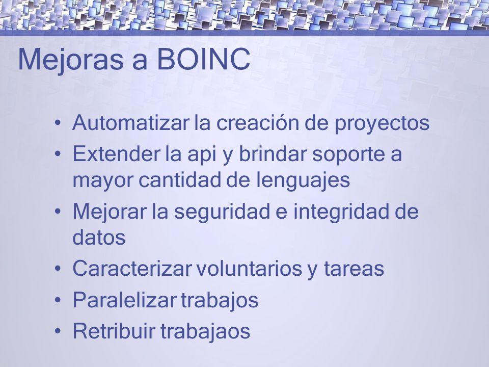 Mejoras a BOINC Automatizar la creación de proyectos Extender la api y brindar soporte a mayor cantidad de lenguajes Mejorar la seguridad e integridad de datos Caracterizar voluntarios y tareas Paralelizar trabajos Retribuir trabajaos