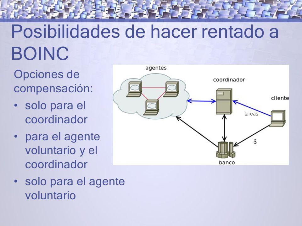 Posibilidades de hacer rentado a BOINC Opciones de compensación: solo para el coordinador para el agente voluntario y el coordinador solo para el agente voluntario tareas $